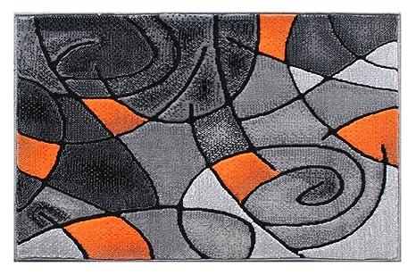 Masada Rugs Modern Contemporary Area Rug Mat Orange Grey Black 2 Feet X 3 Feet Mat
