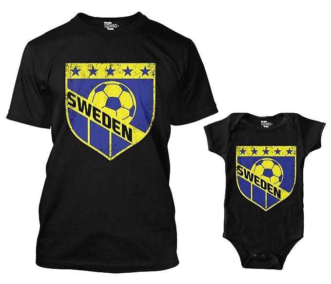 16993f15f Amazon.com  Sweden Retro Soccer Crest Matching Bodysuit   Men s T-Shirt   Clothing
