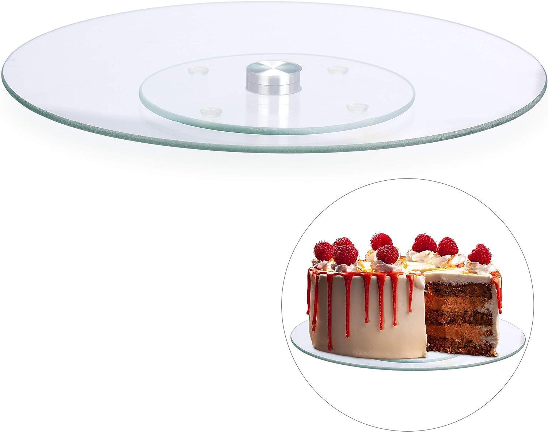 Relaxdays Tortenplatte, 17º drehbar, ∅ 17 cm, zum Servieren & Dekorieren,  Kuchen, runder Drehteller, Glas, transparent