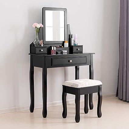 Mecor Meuble Coiffeuse Table De Maquillage Unique En Bois Avec 1 Miroir 3 Tiroirs Et 1 Tabouret Coiffeuse Femme En Noir