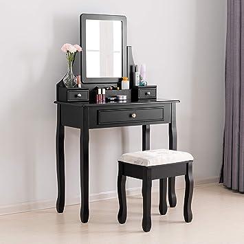 Mecor Modern Coiffeuse Table De Maquillage En Mdf Avec Tiroir