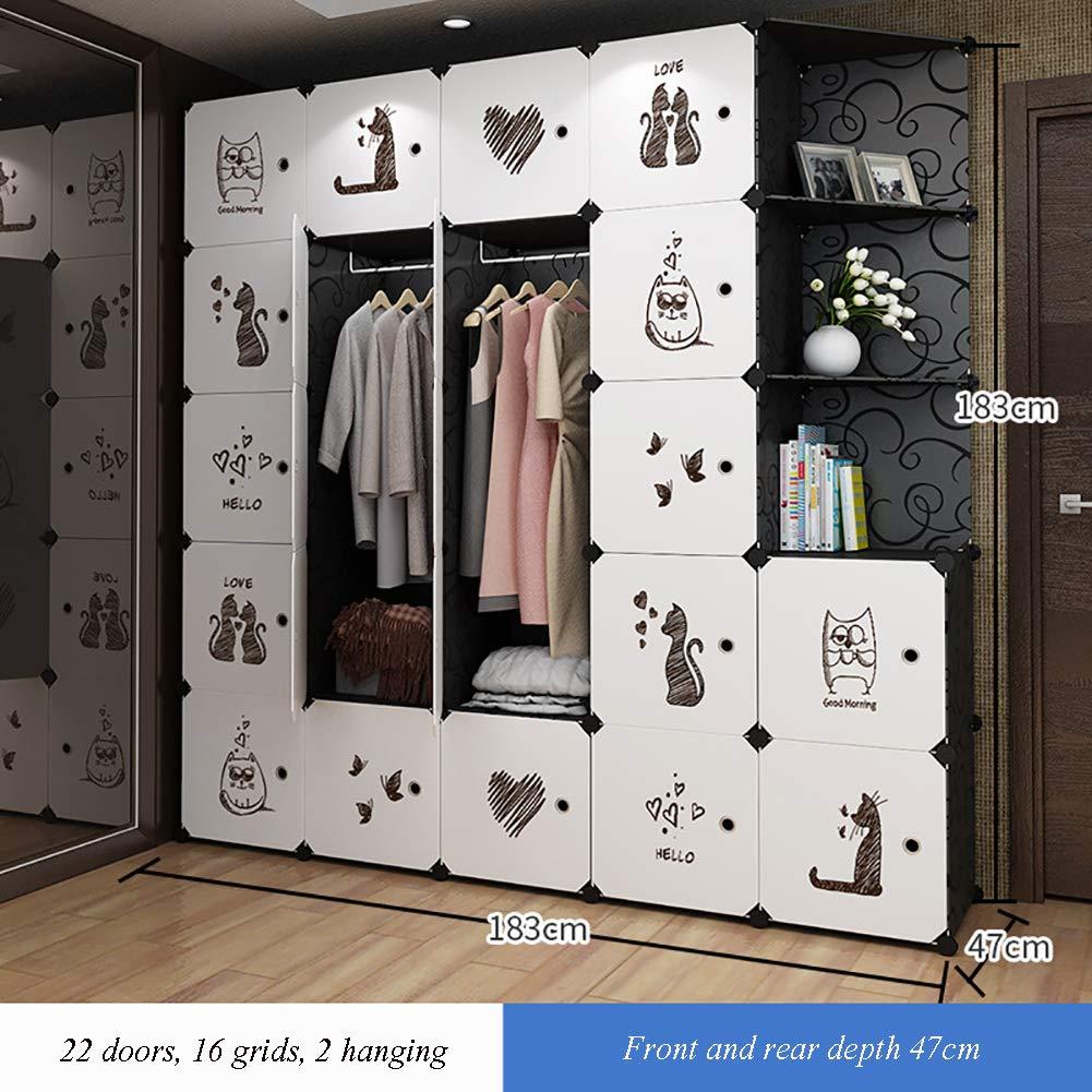 GJC Einfache Garderobe Home Assembly Wirtschaft Kleidung Quilt Aufbewahrungsschrank Kunststoff Kombination Kleiderschrank Schuhschrank,J
