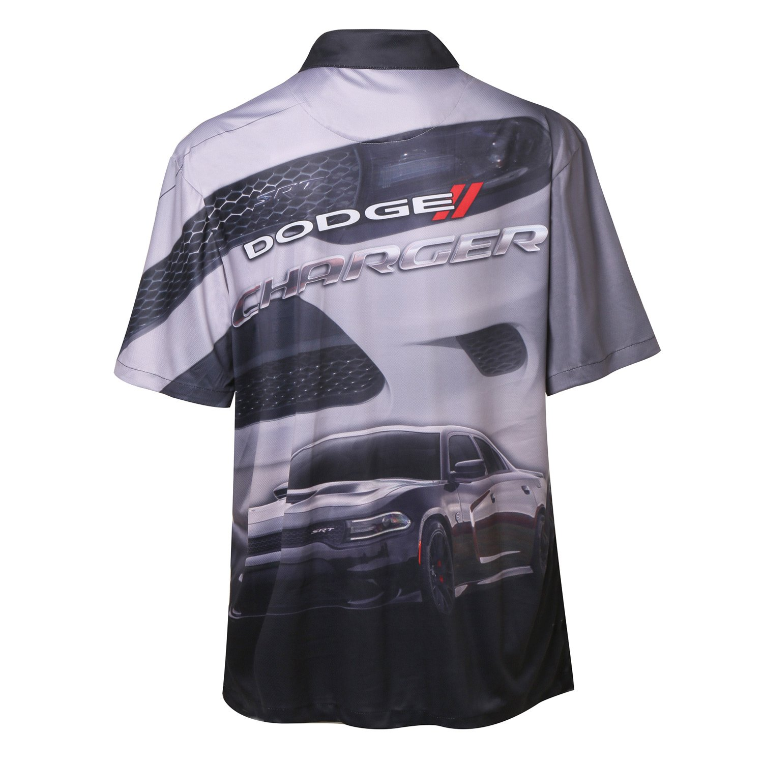 Button up Collared Short Sleeve Dry-Wicking Camp//Club Shirt with Logo Grey /& Black David Carey Dodge Charger Pit Shirt