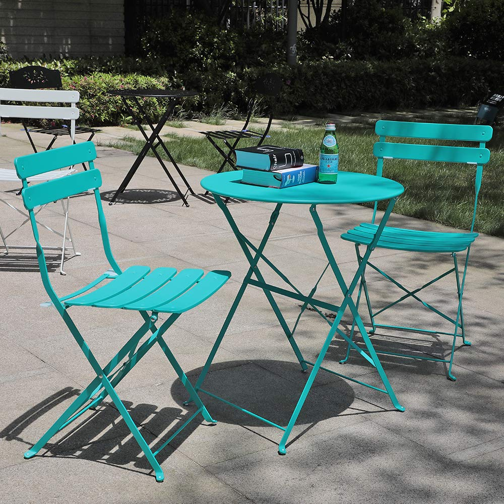 OC Orange-Casual 3 Pieces Patio Bistro Set Folding Steel Furniture Balcony Table and Chairs Sets, Blue