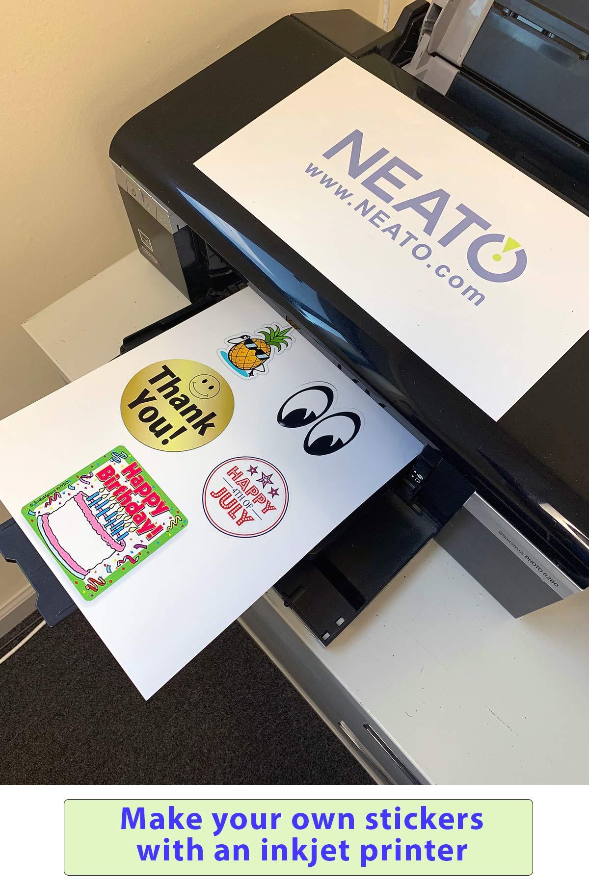Neato Printable Glossy Vinyl Sticker Paper 10 Piece 8 5 X