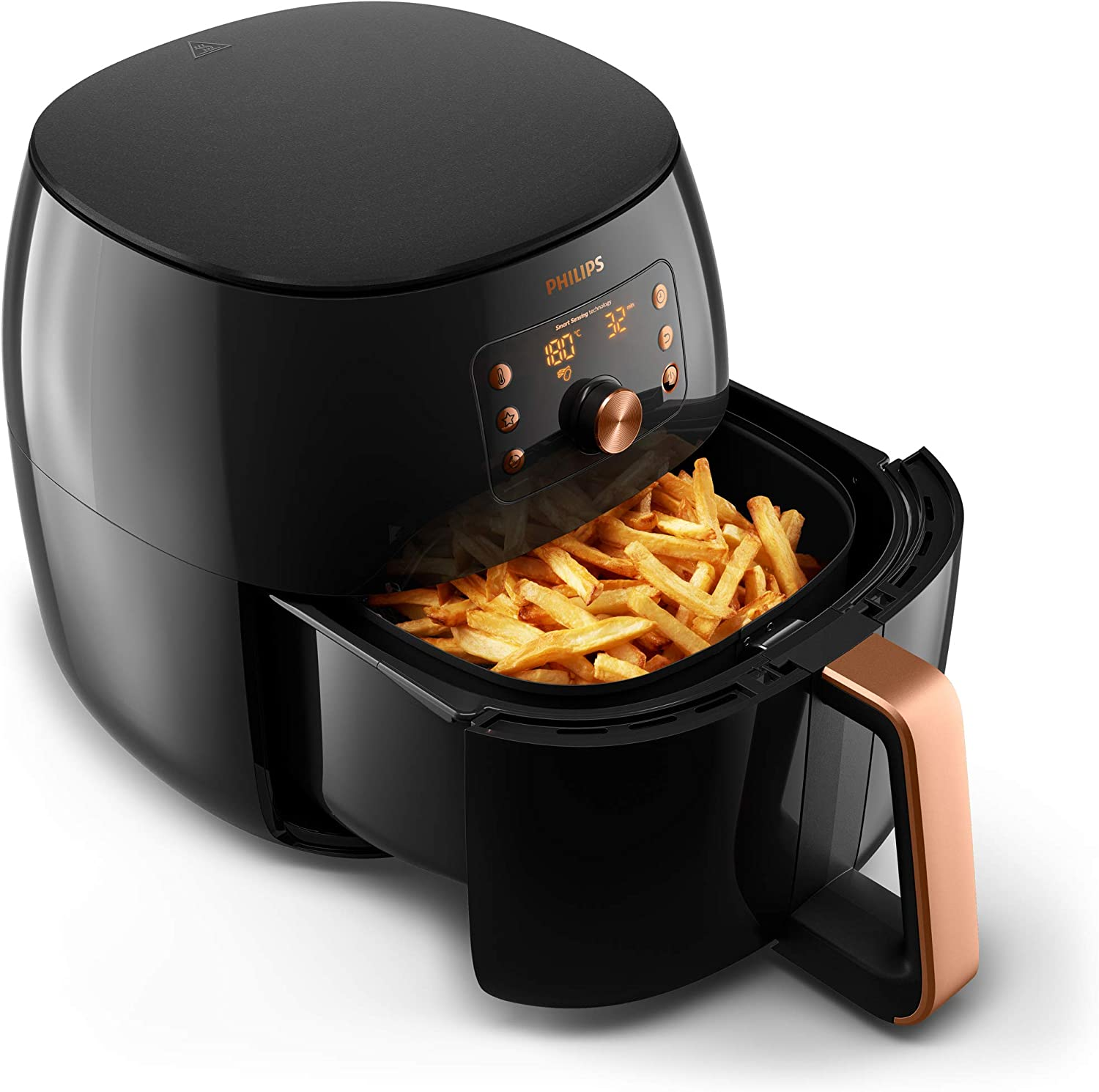 digitaler airfryer mit display schwarz