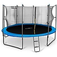 Klarfit Rocketboy 430 Cama elástica trampolin con red de seguridad (superficie base 430cm diametro, sujecion 4 patas doble, varillas de sujecion acolchadas, lona resistente a los rayos UV, protector de lluvia)