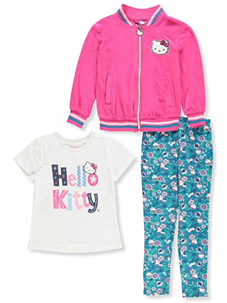 fb7fa32b6 Amazon.com: Hello Kitty Little Girls' 3-Piece Leggings Set Outfit ...