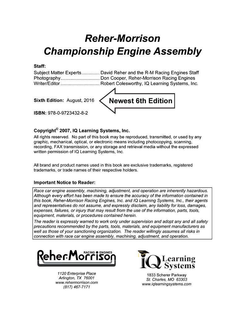 Reher-Morrison Championship Engine Assembly: Robert Colesworthy