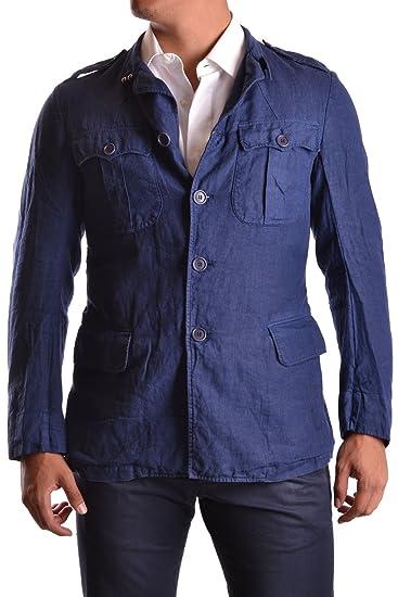 Yohji Yamamoto Hombre Mcbi317017o Azul Lino Chaqueta: Amazon.es: Ropa y accesorios