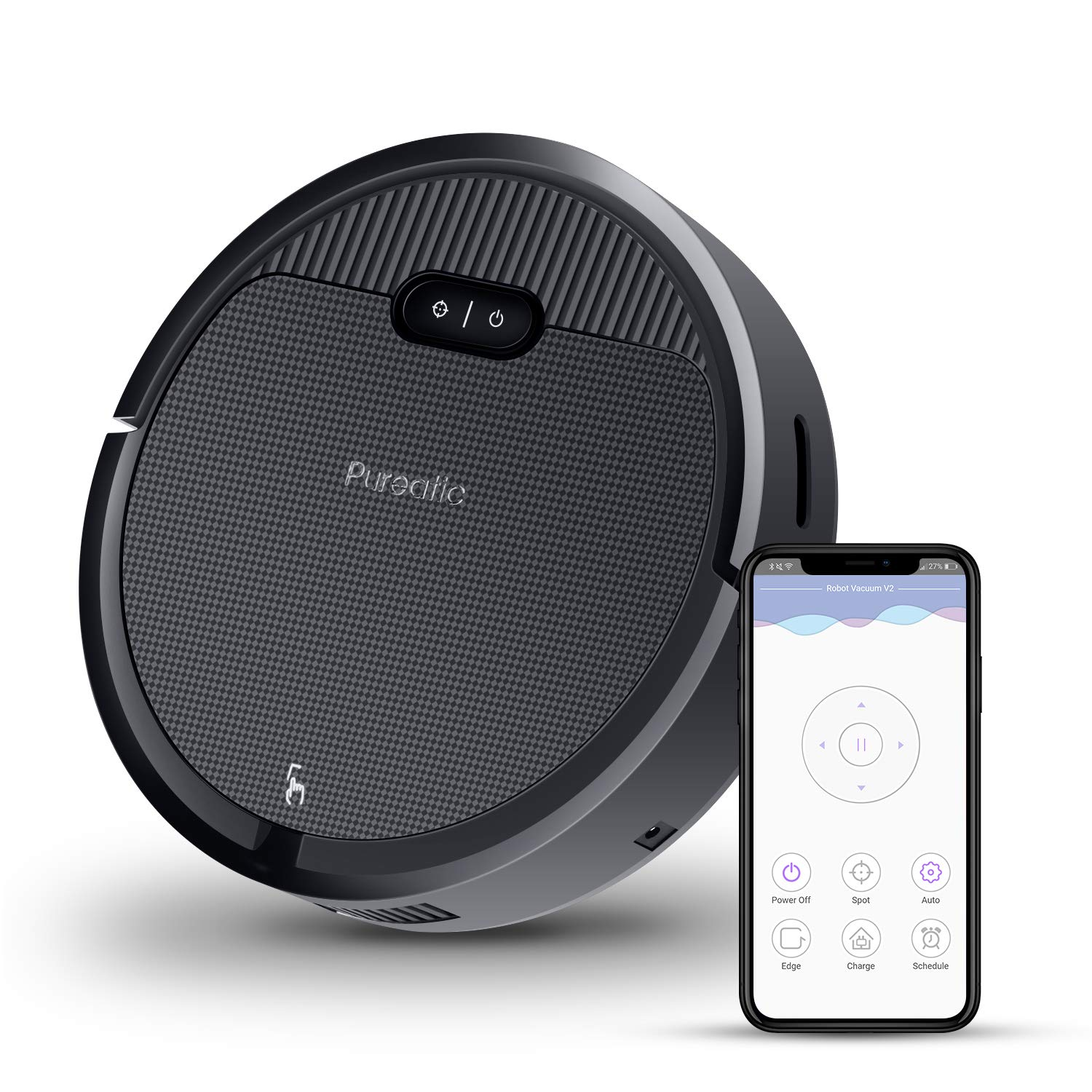 Premium Automatic Robot Vacuum Cleaner, 1500Pa Powerful Suction, 650ML Large Dust Box, Smart App Control/Self-Charging/Anti-Collision, Good for Pet Hair, Hard Floor and Low Pile Carpets (Black) by lexvss
