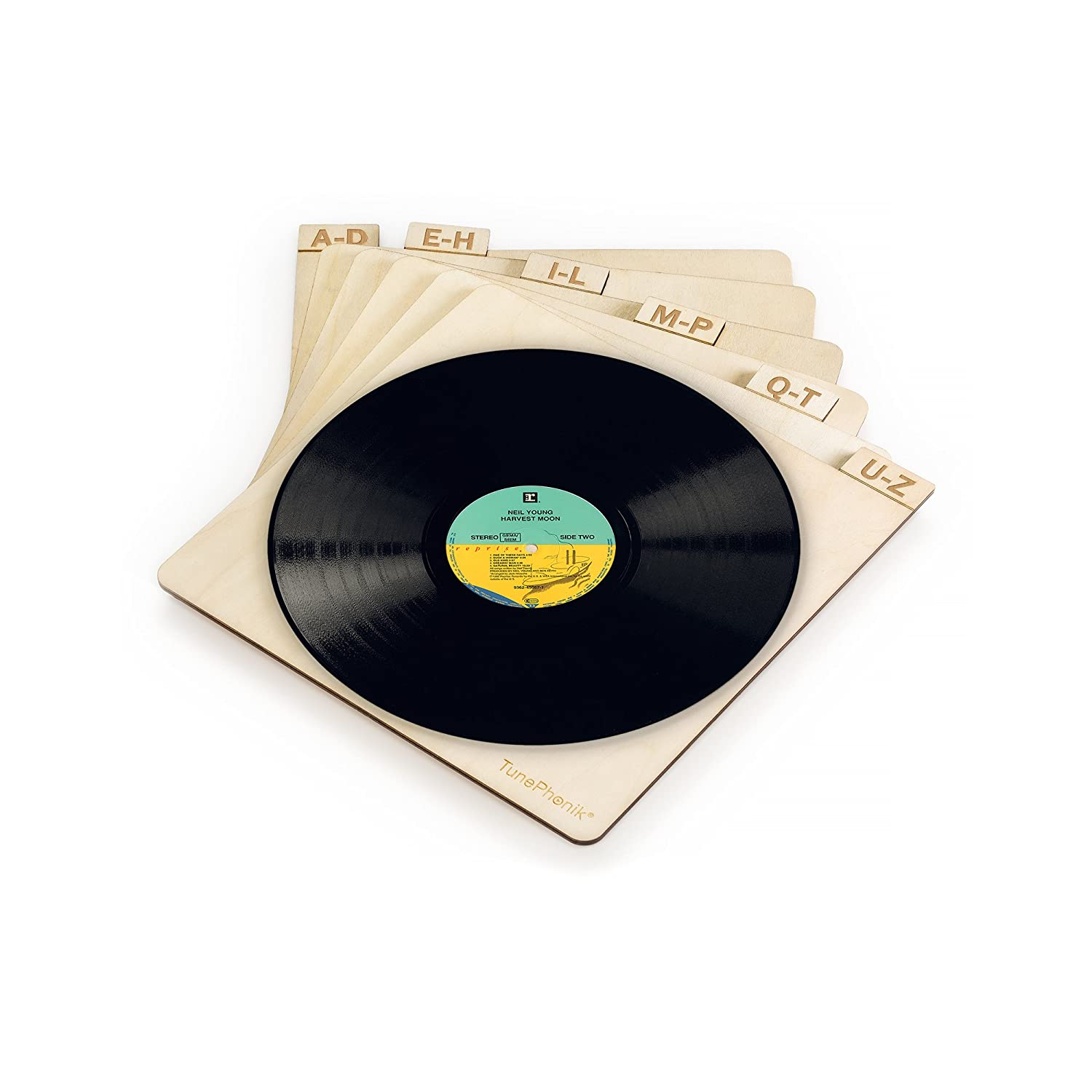 "TunePhonik Laser Cut Wooden Record Dividers to Organize Vinyl LPs up to 12"" Aleratec"