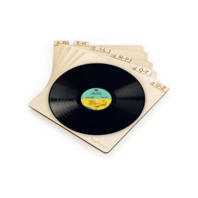 """TunePhonik Vertical Laser Cut Wooden Record Dividers to Organize Vinyl LPs up to 12"""""""