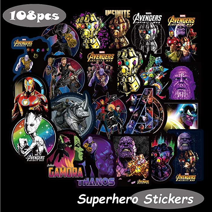 Marvel Avengers Laptop Stickers Decal-108pcs Waterproof Graffiti Stickers Water Bottle Vinyl Sticker Decals for Superheros,MacBook Car Helmet Bike Motorcycle Bumper (Not Random)
