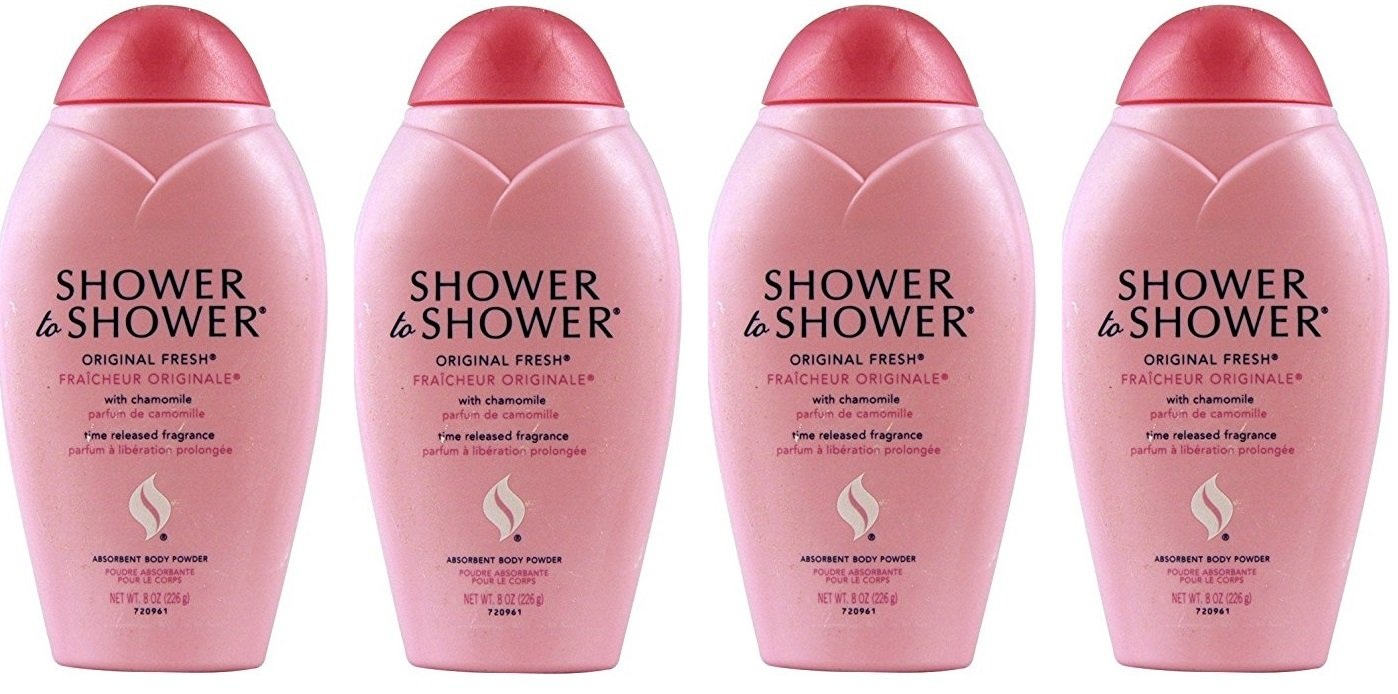 Shower to Shower Absorbent Body Powder, Original Fresh with Chamomile, 13 Oz Bottles (Pack of 4) + FREE Travel Toothbrush, Color May Vary