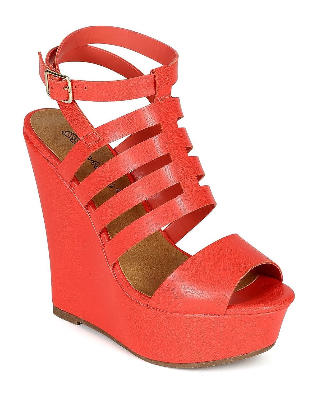 Breckelle's Women Leatherette Open Toe Caged Ankle Strap Platform Wedge Sandal CC70 - Grapefruit B00UT5OC2S 6.5 M US