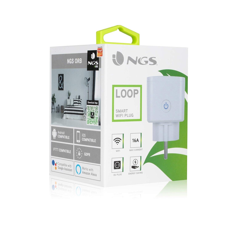 Enchufe inteligente WIFI de 16A NGS LOOP Controlado por la App NGS ORB Color blanco