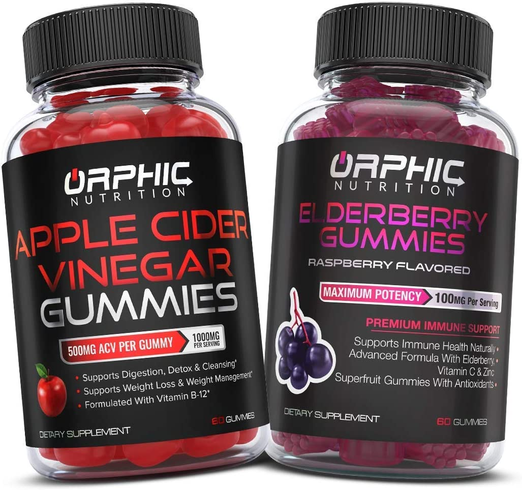 Apple Cider Vinegar Gummies & Elderberry Gummies (60 + 60) - Weight Loss, Energy Boost & Gut Health Support - Immune and Energy Booster with Zinc & Vitamin C - Supports Digestion, Detox & Cleansing