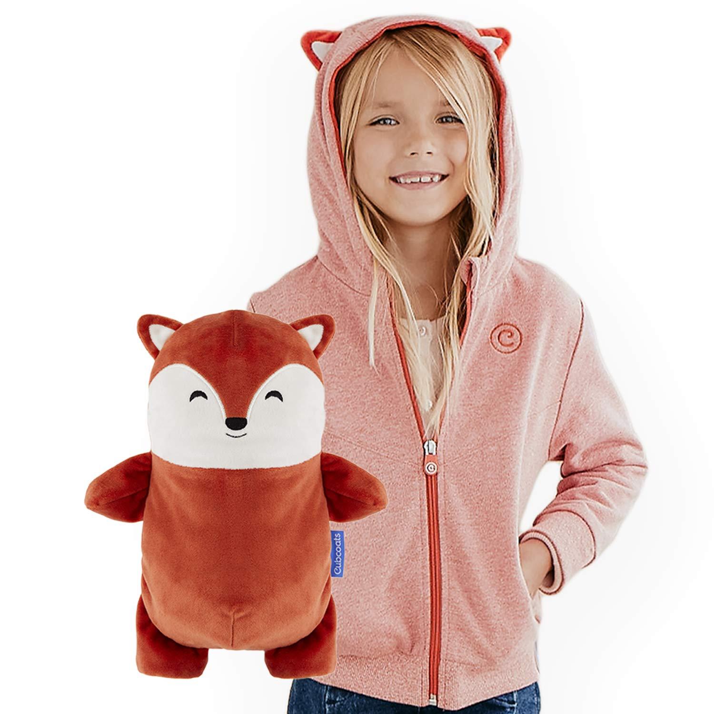 Cubcoats Flynn The Fox - 2-in-1 Transforming Hoodie & Soft Plushie - Burnt Orange