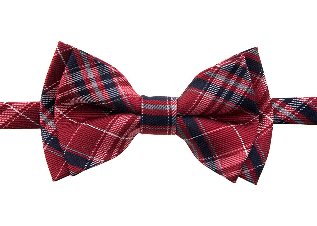 Retreez Stylish Plaid Checkered Woven Microfiber Pre-tied Boy's Bow Tie RTZ-KDBWTIE-117