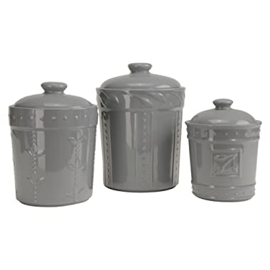 Signature Housewares Sorrento Collection Set of Three Canisters, 80 Ounce, 48 Ounce, 36 Ounce, Light Gray