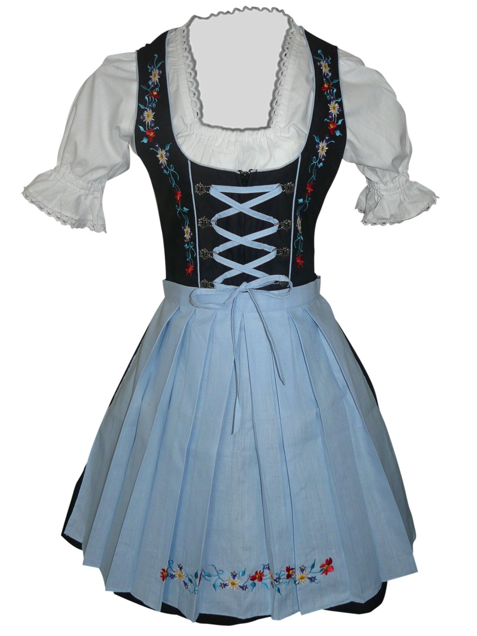 Dirndl World 3pcs. Bavarian Mini Dirndls Dress Oktoberfest, Size: 18, Di06bls