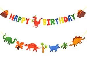 Kids Dinosaur Party Decor Supplies with Happy Birthday Banner Sign and Dinosaurs Banner. Jurassic Dinasors Decorations Garland Designed for Boys and Girls
