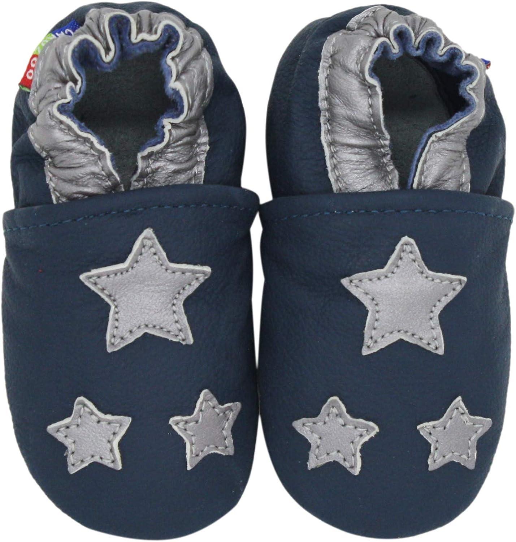 Carozoo Silver Star Bleu fonc/é Chaussures B/éb/é Semelle Souple Fille Silver Star Dark Blue
