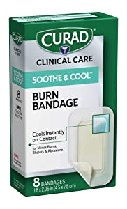 "CURAD Soothe & Cool Burn Bandages, Instant Cooling, 1.8"" x 2.96"", 8 count"