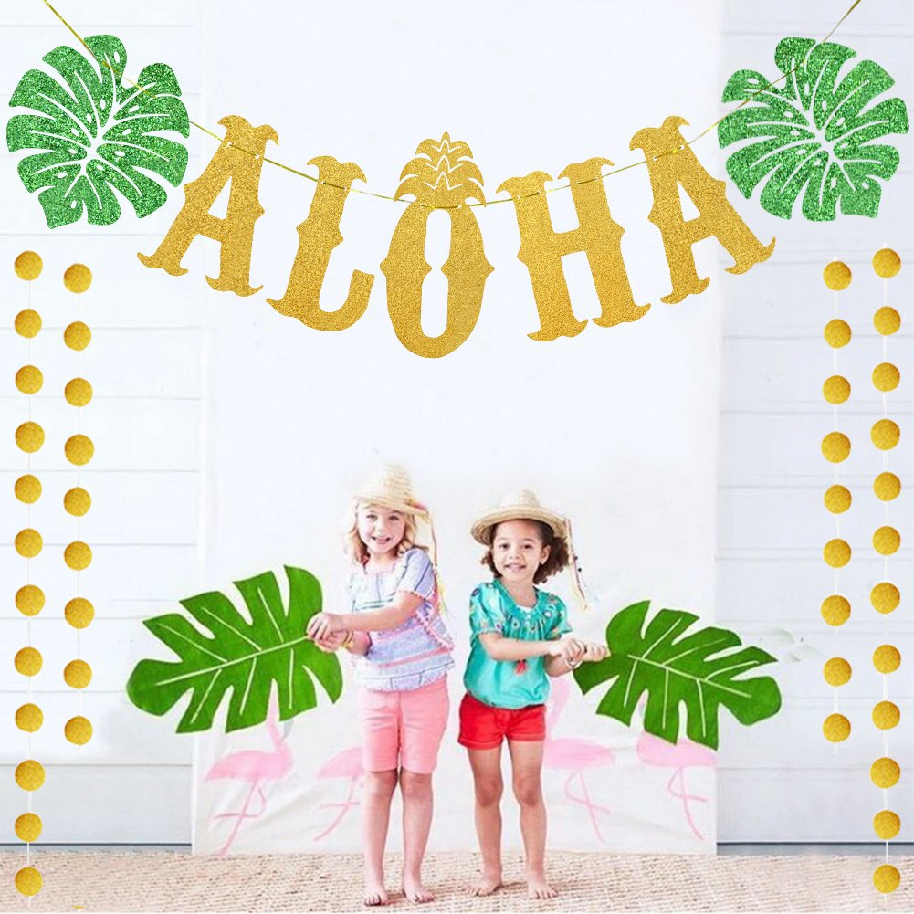 TMCCE Hawaiian Aloha Party Decorations Large Gold Glittery Aloha Banner For Luau Party Supplies Favors by TMCCE