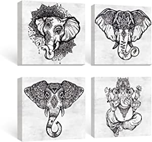SUMGAR Black and White Wall Art Bedroom Boho Decor Elephant Pictures Bathroom Grey Mandala Canvas Paintings Gray Animal Framed Artwork Set Indian Prints Bohemian Home Decorations 4 Panel,12x12 inches