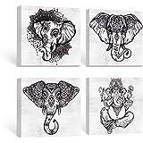 SUMGAR Black and White Wall Art Bedroom Boho Decor Elephant Pictures Bathroom Grey Mandala Canvas Paintings Gray Animal…