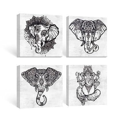 SUMGAR Black And White Wall Art For Living Room Framed Prints Of Mandala  Elephant Paintings On