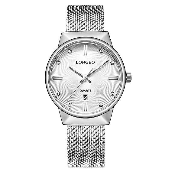 Reloj para mujer, de la marca Longbo, con correa de malla de acero inoxidable y diamantes en la esfera: Amazon.es: Relojes