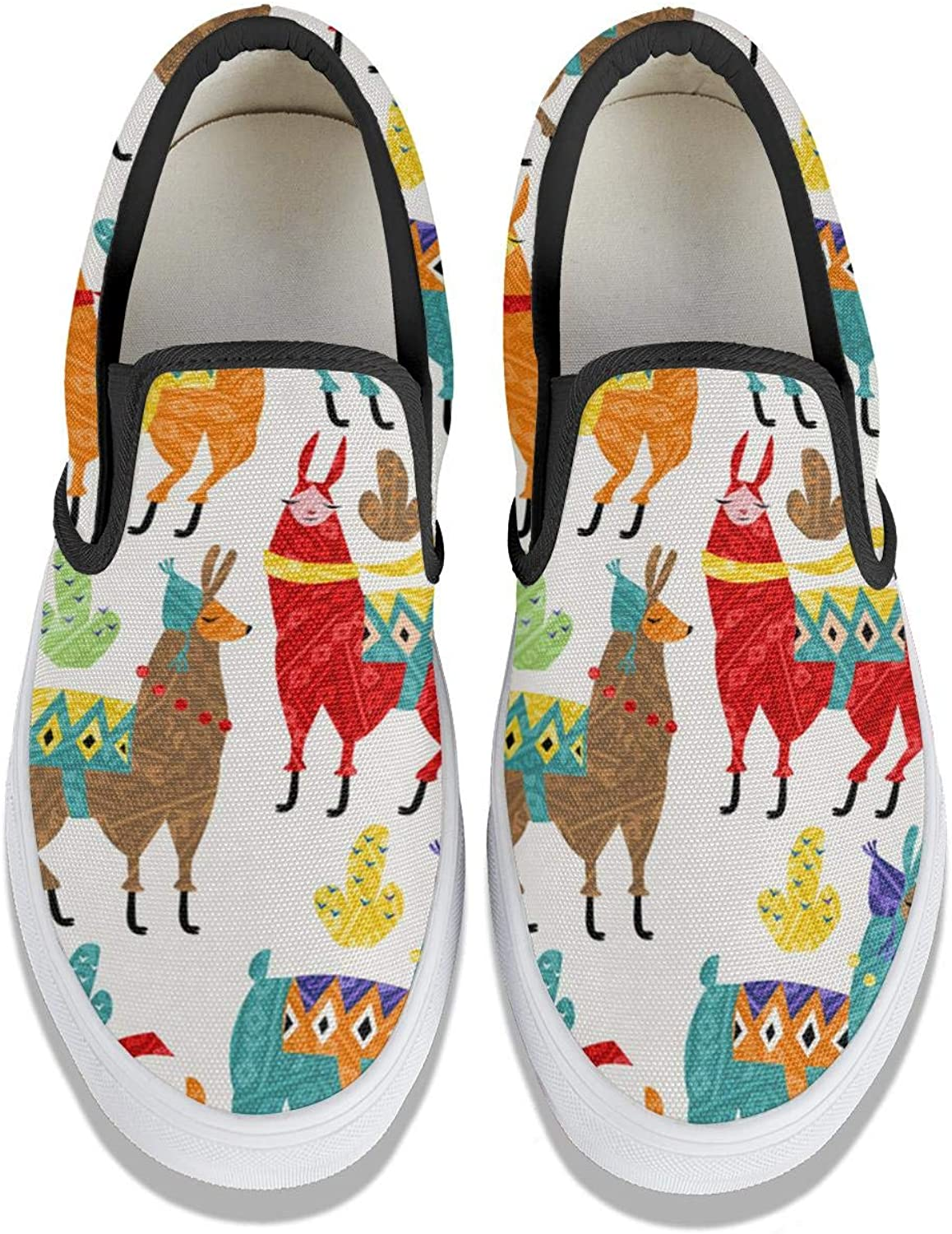 Not applicable Llamas 1 Womens Classic Slip-ons Tennis Sneakers Low Top Canvas Walking Shoes