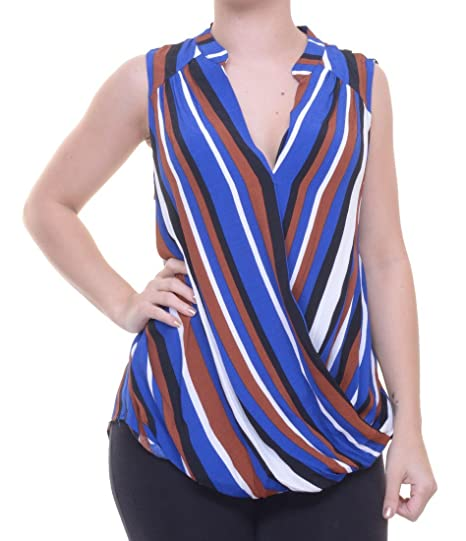 fb8d313720e044 Amazon.com  INC International Concepts Striped Faux-Wrap Top Size 12 ...