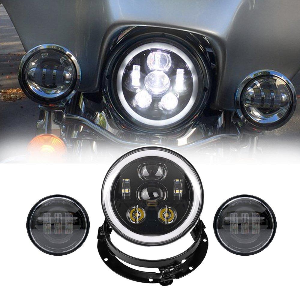 Esyauto ハーレー 7インチLEDヘッドライト60W イカリング ウインカー DRL機能付き(1個)+4.5インチLED補助灯(2個)+ 7インチヘッドライト用ステー ブラケット(1個) 防水 ライトセット 一年保証付き シルバー B0792X7T94 銀