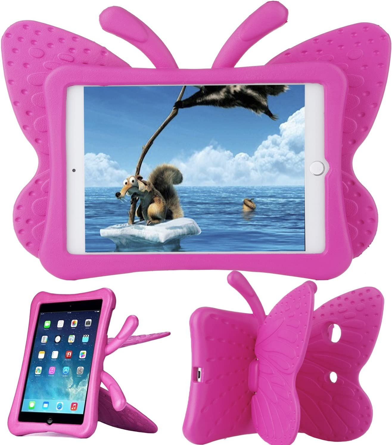 Xboun Butterfly Series EVA Shock Proof Protective Case for Apple iPad Mini 1/ Mini 2/ Mini 3/ Mini 4/ Mini 5 - Rose