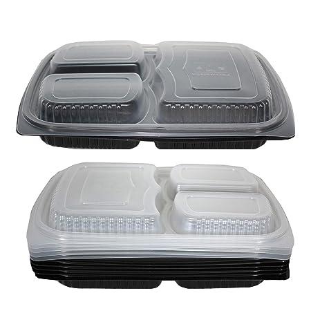 12 Contenedores de Alimentos con 3 Compartimientos - Recipientes para Meal Prep - 100% a Prueba de Fugas y sin BPA - Congelador, Lavavajillas y ...