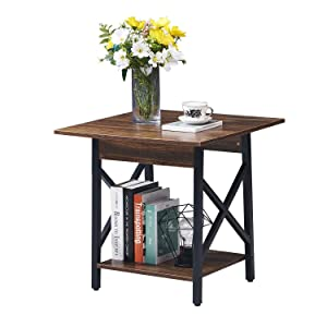 GreenForest End Table 2 Tier Side Table with Storage Shelf Wood and Metal Legs Rustic Night Stand for Living Room Bedroom Walnut