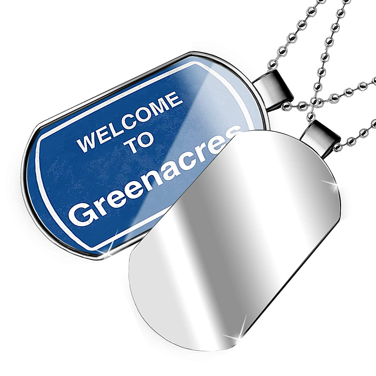 NEONBLOND Personalized Name Engraved Sign Welcome to Greenacres Dogtag Necklace