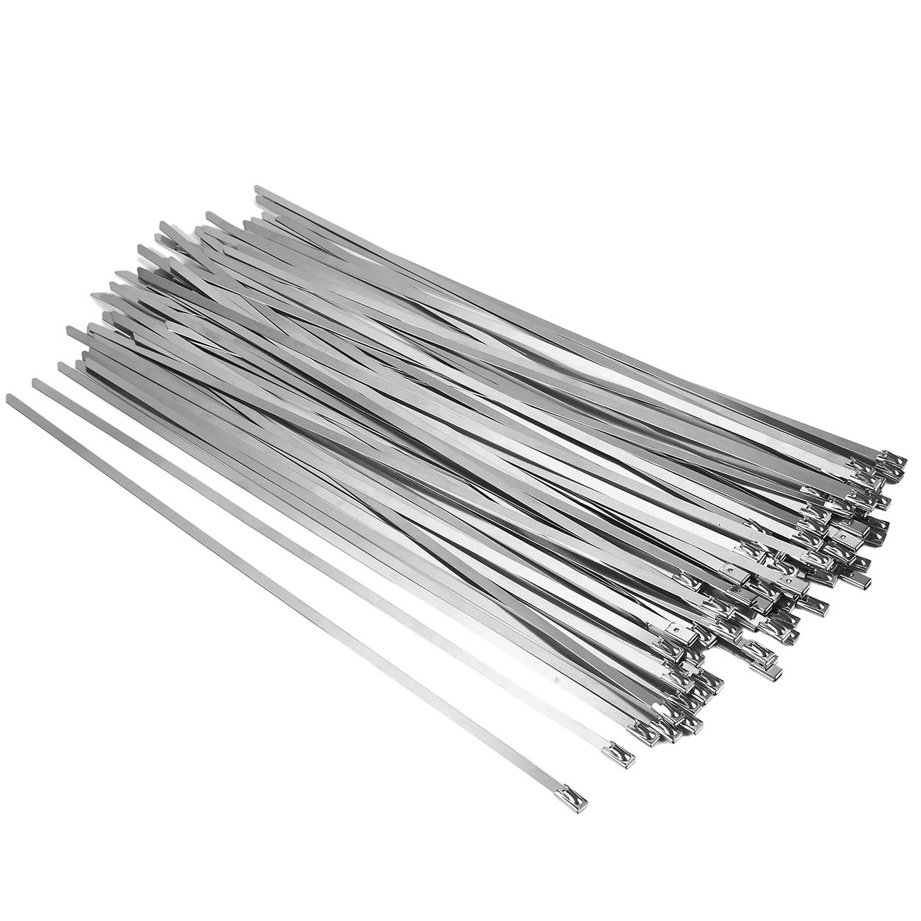 Stainless Steel Zip Ties - 100-Pack 12 Inches Metal Zip Ties, Heat-Resistant Exhaust Wrap, Multi-Purpose Locking Cable, 12 x 0.17 Inches