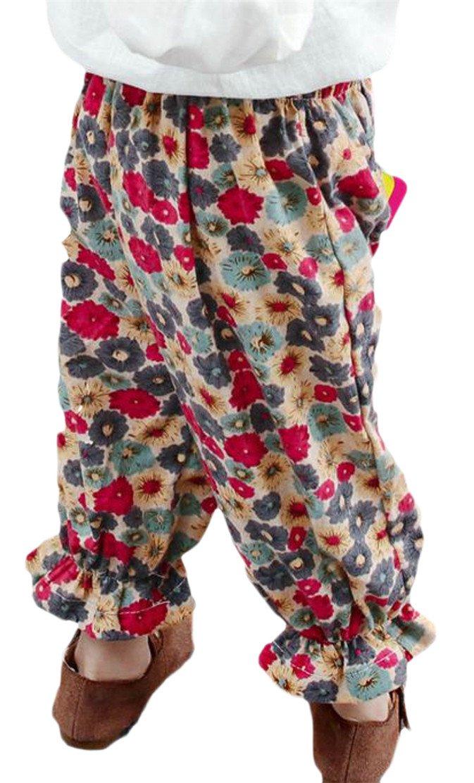 Wofupowga Girls Floral Print Athletic Elastic Waist Pocket Jogger Pants Red 2T