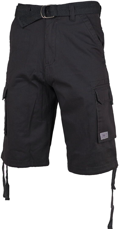 JMC Mens Premium Cotton Slim Fit Cargo Shorts with Woven Belt