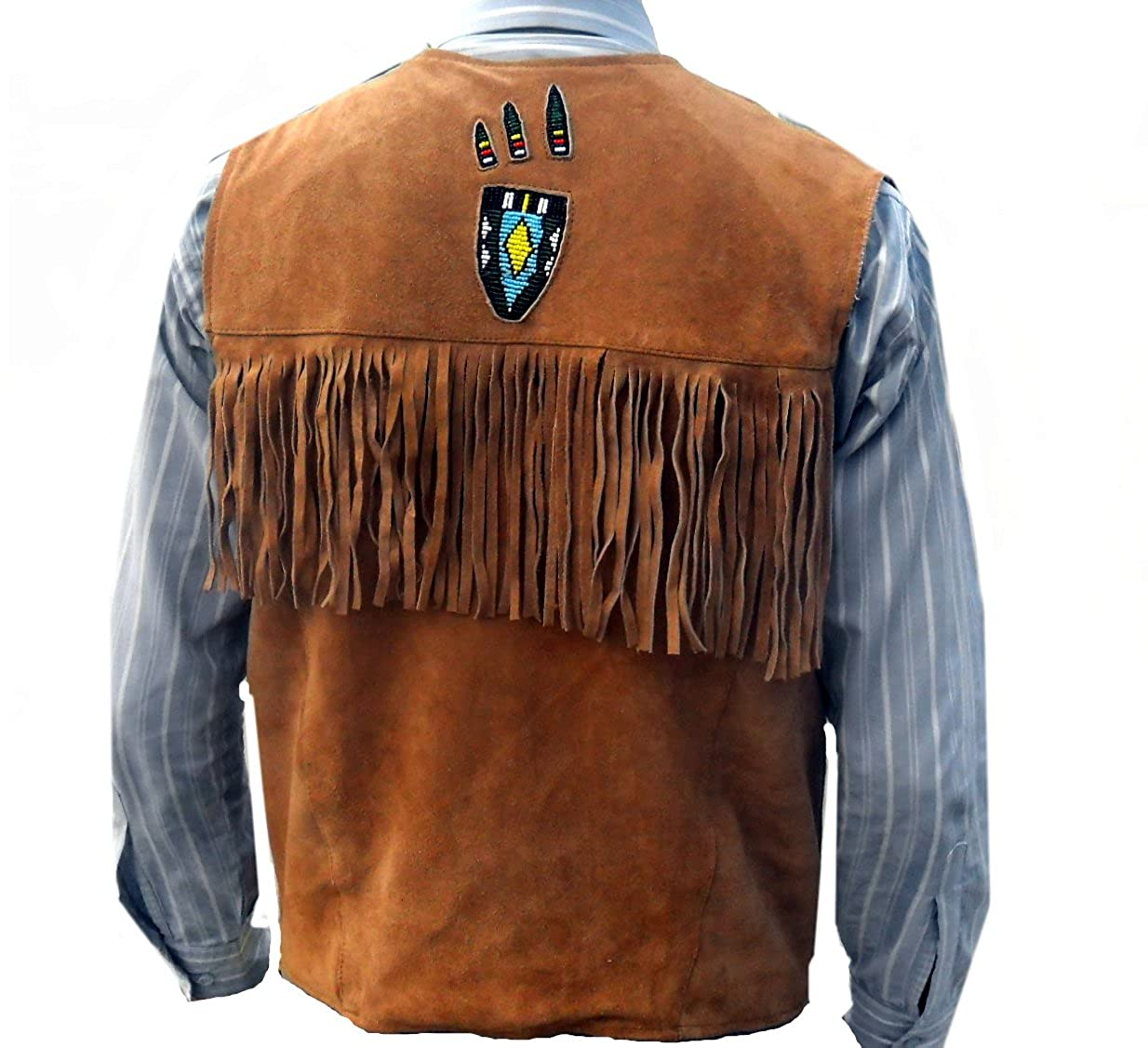 35513664ede Classyak Western Genuine Leather Vest, Excellent Beads Work & Fringed,  Xs-5xl