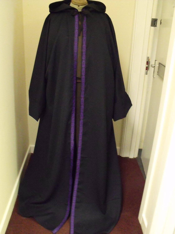 152.40 cm Länge für Erwachsene, Kapuze, Wolle SUIT Damen Kleid IN Blau und Violett, keltisches Design Knoten und Kanten
