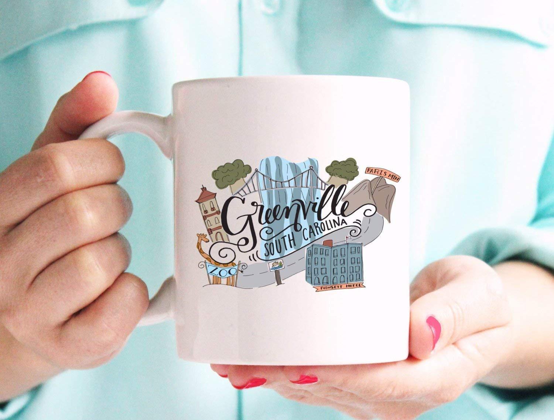 Greenville South Carolina Paris Mtn Zoo Poinsett Hotel Illustrated Cermamic Plastic Travel Mug- Coffee Mug, Tea Mug, Cute Mug - Gift, cute gift, Souvenir, 11oz, 15oz