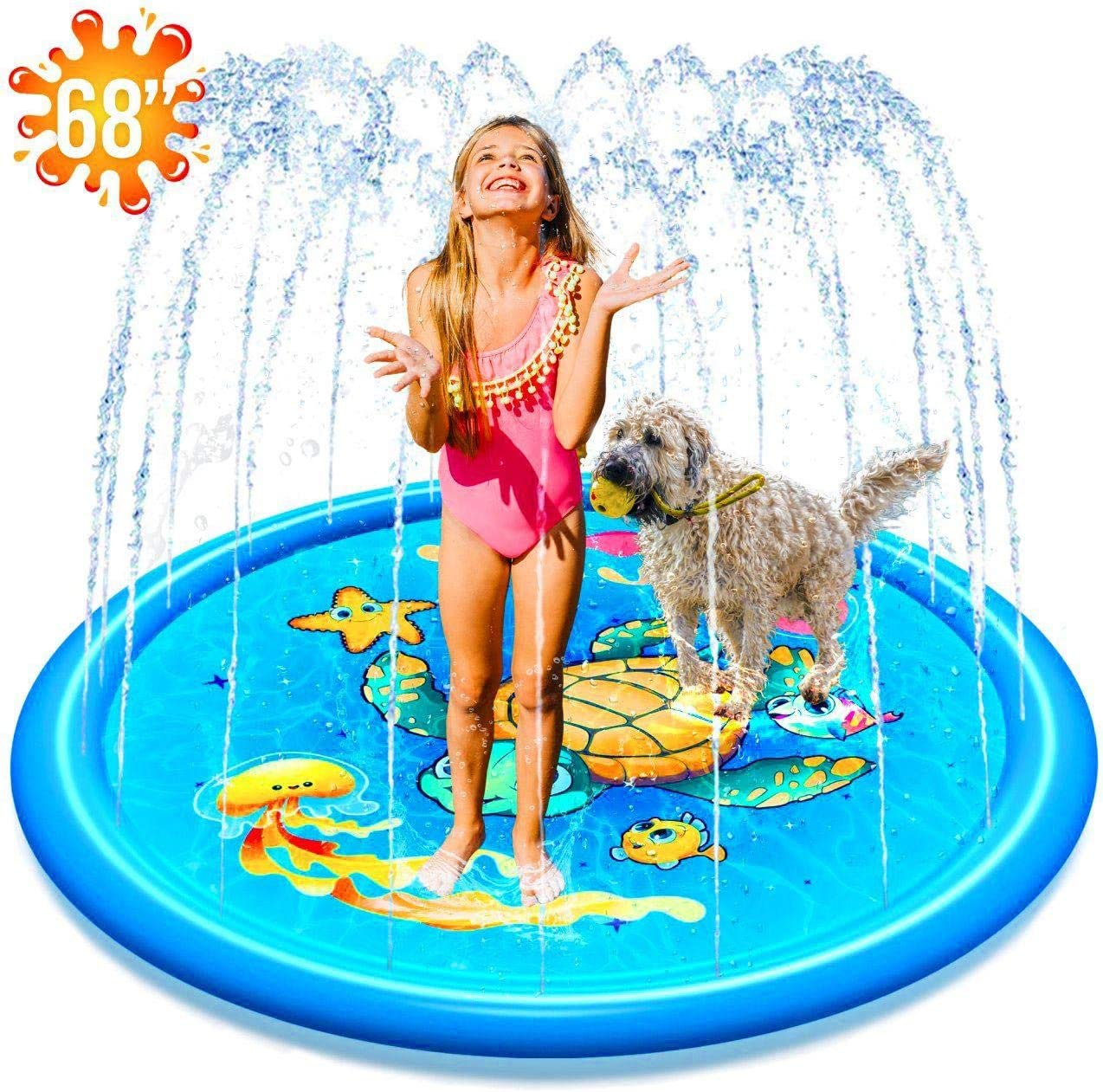 "(68"") Inflatable Splash Sprinkler Pad for Kids Toddlers Dogs, Kiddie Baby Pool, Outdoor Water Mat Toys - Baby Infant Wading Swimming Pool - Fun Backyard Fountain Play Mat for 1 -12 Year Old Girls Boys 71J46pH2hwL"