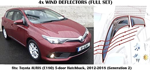 OEMM Set Of 4 Wind Deflectors IN-CHANNEL Type Compatible with FORD FOCUS MK3 5 door HATCHBACK 2011 2012 2013 2014 2015 2016 2017 2018 Acrylic Glass Side Visors Window Deflectors