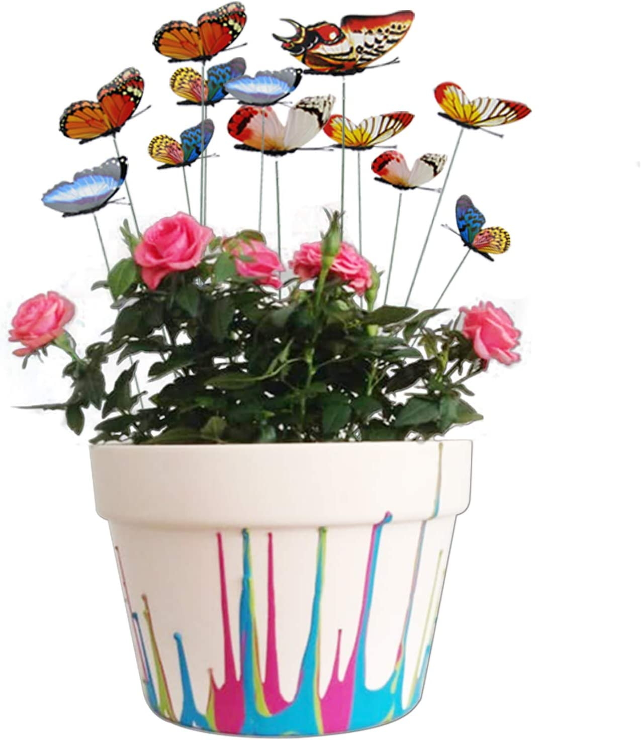 KEANVIK 25 Pcs Glowing Artificial Butterfly Decorative Garden Stakes for Outdoor Yard, Patio Plant Pot, Lawn and Home Decorative (25 Pcs Glowing Butterfly Stakes)